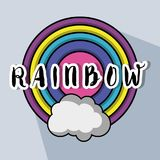 Cute circle rainbow with cloud design. Vector illuctration Royalty Free Stock Photos