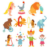 Cute circus animals and funny clowns collection vector illustration. Royalty Free Stock Images