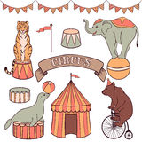 Cute circus animals set Stock Photo