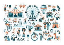 Cute circus performance related items. Vintage funfair and circus park and sign. Vector illustration Stock Images