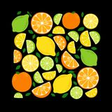 Cute Citrus Delight Fruits Lemon, Lime and Orange background in vivid tasty colors. Cute Fruits Lemon, Lime and Orange background in vivid tasty colors, can be stock illustration