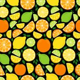 Cute Citrus Delight Fruits Lemon, Lime and Orange seamless pattern in vivid tasty colors. Cute Fruits Lemon, Lime and Orange seamless pattern in vivid tasty royalty free illustration