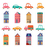 Cute city collection with houses and cars Stock Photography