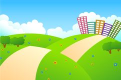 Cute City And Green Hills Royalty Free Stock Image