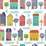 Cute city seamless background Royalty Free Stock Images
