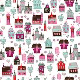 Cute city seamless for kids Royalty Free Stock Photos