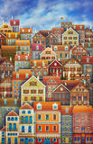 Cute City Street Scene Houses Stock Photography