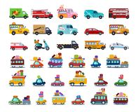 Cute City Transport Set, Colorful Childish Cars and Vehicles Vector Illustration. On White Background vector illustration