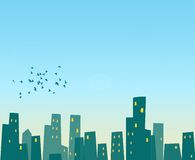Cute Cityscape. Postcard of blue sky with cartoon city buildings and birds Royalty Free Stock Images
