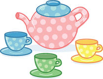 Cute classic style tea pot and cups illustration Royalty Free Stock Photo
