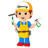 Cute cleaning boy Royalty Free Stock Photos