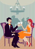 Cute clinking couple. Sitting at an elegant event Stock Images