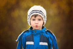 Cute close portrait of a child, preschool boy outdoor Royalty Free Stock Photos