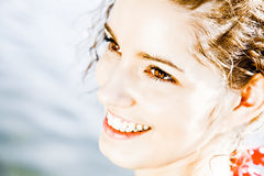 Cute Closeup Smile. Closeup Smile Of A Beautiful Sweet Young Woman Royalty Free Stock Images
