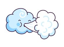 Free Cute Cloud Blowing Wind. Cartoon Character With Funny Face. Stock Images - 178355144