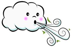 Cute Cloud Blowing Wind Cartoon Royalty Free Stock Photos