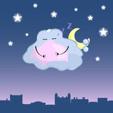 Cute cloud character cartoon  illustration. Sleepy cloud above retro town rooftop. Stock Images