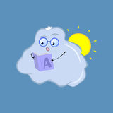 Cute cloud character sticker. Hand-drawn illustration for weather forecast vector illustration
