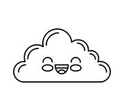 Cute cloud kawaii face Stock Photography
