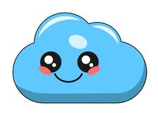 Cute cloud kawaii face vector illustration design isolated. On white royalty free illustration