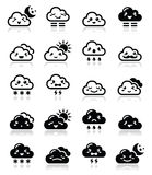 Cute cloud - Kawaii, Manga black icons with different expressions - happy, sad, angry Royalty Free Stock Photos