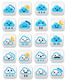 Cute cloud - Kawaii, Manga buttons with different expressions - happy, sad, angry Stock Photography