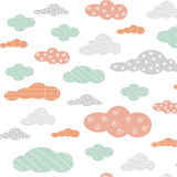 Cute cloud line color background pattern vector Stock Image