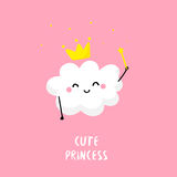 Cute cloud princess with a magic wand. Flat style. Vector card Royalty Free Stock Photography