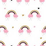 Cute, cloud, rainbow - seamless pattern. Idea for print t-shirt. vector illustration