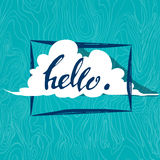 Cute cloud says letterin hello. vector illustration. Cute white cloud says letterin hello. vector illustration Stock Images