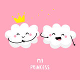Cute cloud sings for cloud Princess. Flat style. Vector illustration Stock Images