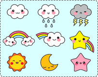 Cute cloud sun moon star and rainbow set Stock Photography