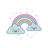 Cute clouds and rainbow drawing. Illustration design Royalty Free Stock Images