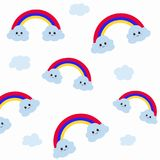 Cute clouds and rainbow white background.  and white background Stock Image