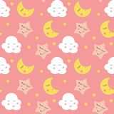 Cute Clouds, Star and Moons  Seamless Pattern Background Vector Illustration. EPS10 Royalty Free Stock Photography