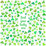 Cute clover flower postcard. Game find your lucky one. Find the only one clover flower with four leaves and make a wish Royalty Free Stock Image