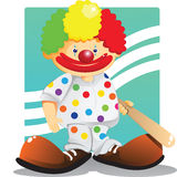 Cute clown. With colorful hair wearing polka dots suit hold a baseball bat Stock Image