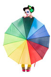Cute Clown. Behind an umbrella Royalty Free Stock Photos