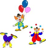 Cute clown character design set. Birthday or carnival party invitation. Royalty Free Stock Photo
