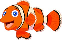 Cute clown fish cartoon royalty free illustration