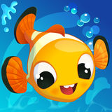 Cute Clown Fish in Cartoon Style on a Blue. Vector. Royalty Free Stock Images