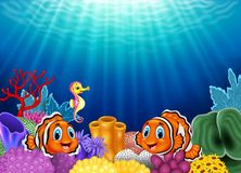 Cute clown fish and Seahorse in beautiful underwater royalty free illustration