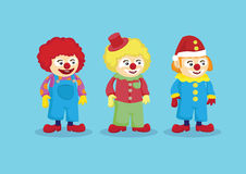 Cute Clowns in Colorful Outfits Vector Illustration Stock Photography