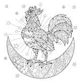 Cute Cock, Rooster On Christmas Half Moon Stock Photos