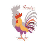 Cute cockerel with his shadow on a white background. Illustration in flat style. Rooster symbol of Chinese New Year Royalty Free Stock Image
