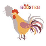 Cute cockerel with his shadow on a white background. Illustration in flat style. Rooster symbol of Chinese New Year. Cock crowing. Doodledoo Stock Images
