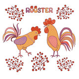 Cute cockerel on a white background. Two cute cocks with berries on a white background. Illustration in cartoon style. Rooster symbol of Chinese New Year Royalty Free Stock Photography