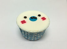 Cute Coconut Flavor Cupcake with Design as Seal Face Stock Photography