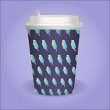 Cute coffee cup with ice cream pattern Royalty Free Stock Images