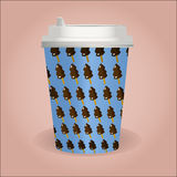 Cute coffee cup with ice cream pattern Stock Image